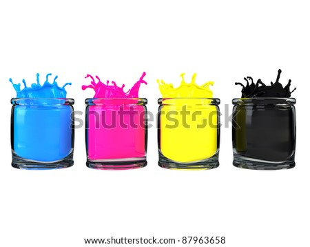 CMYK color paint in glass vessel