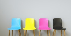 CMYK Colored Chairs , with copy space for individual text