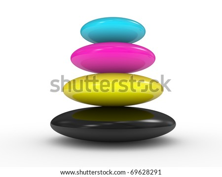 CMYK colors. Abstraction on a white background
