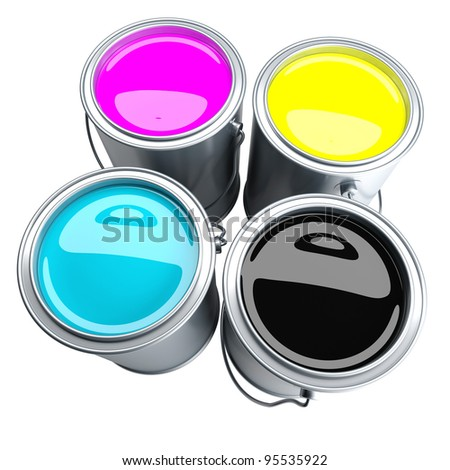 CMYK - four paint can filled with CMYK colors. Isolated on white