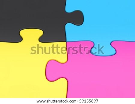 CMYK Jigsaw puzzle pieces closeup