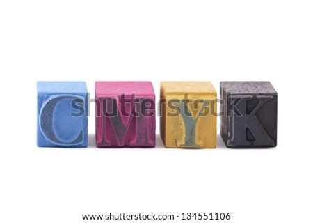 Cmyk made from old letterpress blocks - stock photo