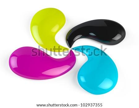 CMYK paint drops - stock photo