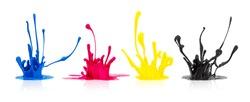CMYK paint splashing on white background