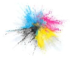 cmyk printing color powder explosion burst in cyan magenta yellow black