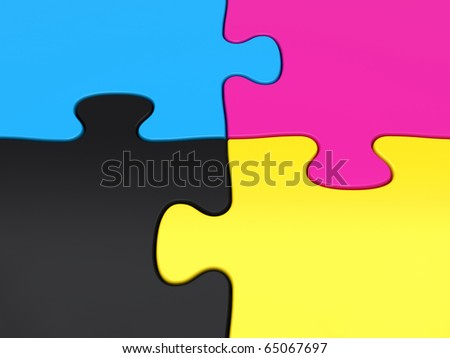 CMYK puzzle pieces closeup