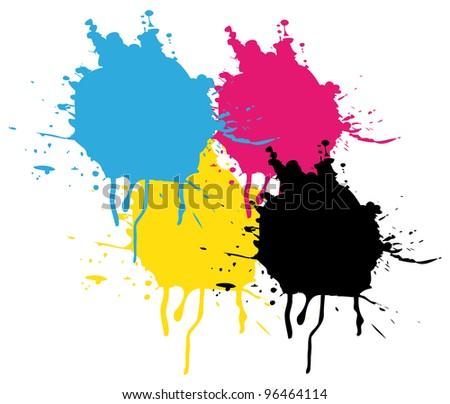 CMYK Splatters painting.