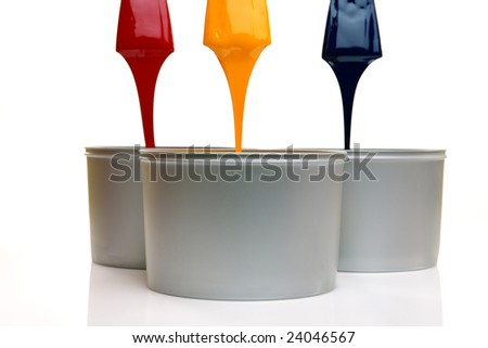 CMYK trowels, with printing ink