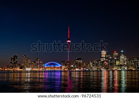 CN Tower Toronto Buildings at night