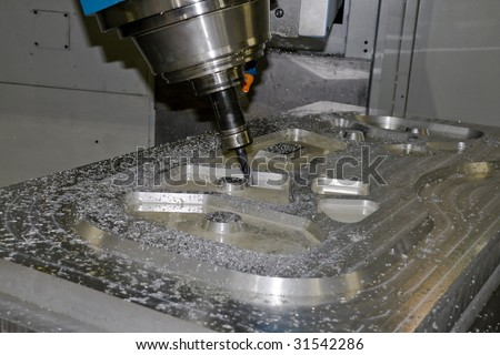 cnc machine tools in the work - stock photo