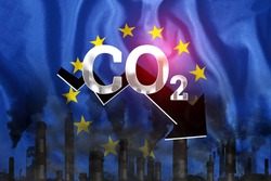 CO2 emissions into the atmosphere. Pipes with black smoke against the background of the EU flag. Industrial air pollution concept, Environmental pollution by carbon dioxide