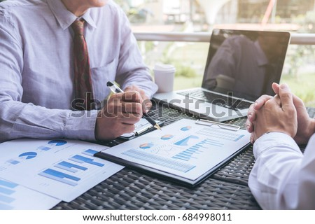 Co working conference, Business team meeting present, investor executive colleagues discussing new plan financial graph data on outdoors office table with laptop and tablet, Finance, accounting