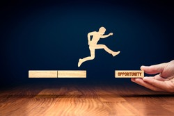 Coach motivate to personal development and jump for opportunities in new post-covid era. Success and career growth concept. Businessman do the big jump into the new post-covid era after corona crisis.