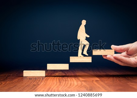 Coach motivate to personal development, success and career growth concept. Version with bigger wooden person.