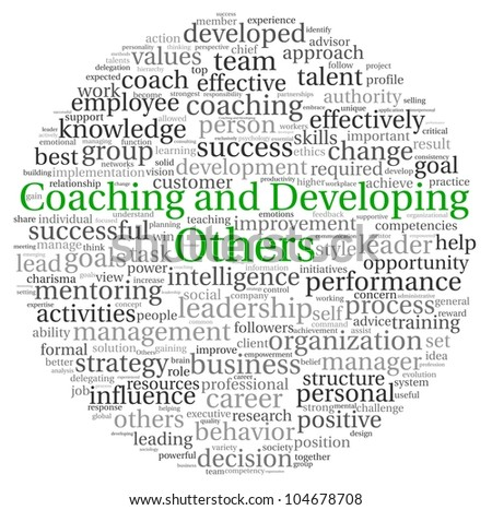 Coaching and Developing Others concept in word tag cloud on white background