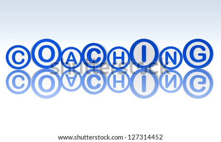 coaching text in 3d blue rings, business concept