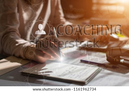 COACHING, Touch Screen. Virtual Icon. Graphs Interface. Business concept. Internet concept. Digital Interfaces #1161962734
