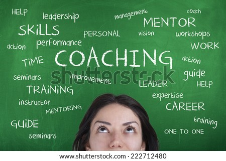 Coaching Word Cloud Background Concept with Woman