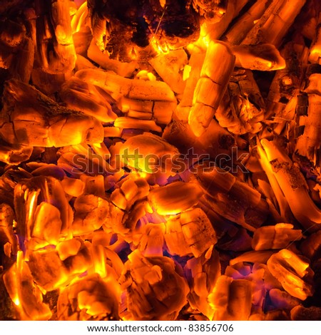 coal and firewoods burning fire background