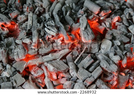 coal and wood ash burning in an oven - stock photo