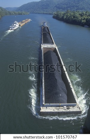 Coal barges on Kanawha River in Charleston, West Virginia