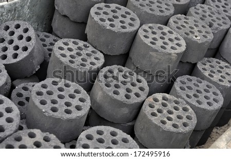 Coal briquettes in China to heat the houses in winter time