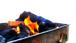 Coal fire, charcoal fire in the barbecue