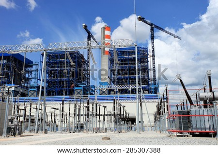 Coal fire Lignite power plant and 500 kV switchgear under-construction - Shutterstock ID 285307388