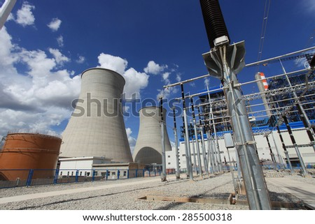 Coal fire Lignite power plant and 500 kV switchgear under-construction. #285500318