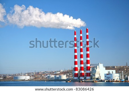 Coal fired power plant along the harbor in Halifax, Nova Scotia, Canada.