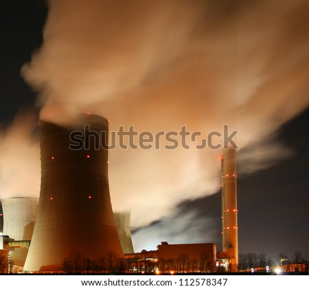 coal-fired power plant at night