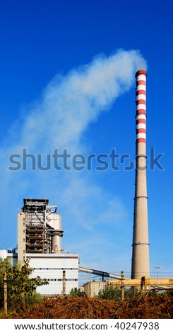 Coal fired power plant with stack and dust emission