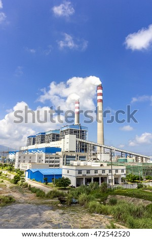 Coal-fired power plants under the blue sky white clouds #472542520