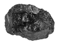 Coal isolated on a white background close-up.