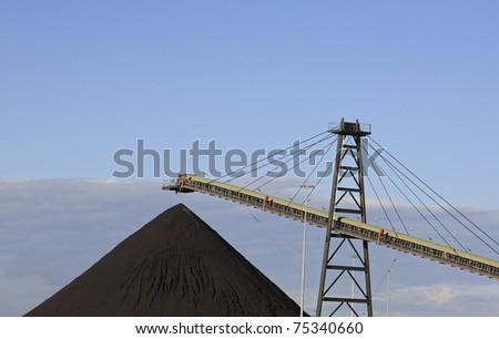 Coal Loading Conveyor Belt and a Pile of Coal at a Coal Mine
