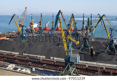 Coal loading on a vessel in port Nakhodka (Far East)