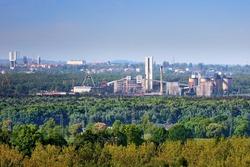 Coal mine in Halemba district of Ruda Slaska city in Poland. Industry in Upper Silesia region (Gorny Slask).