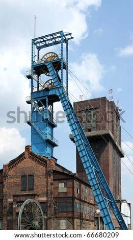 Coal mine - shaft tower. Famous industrial region of Poland - Silesia.