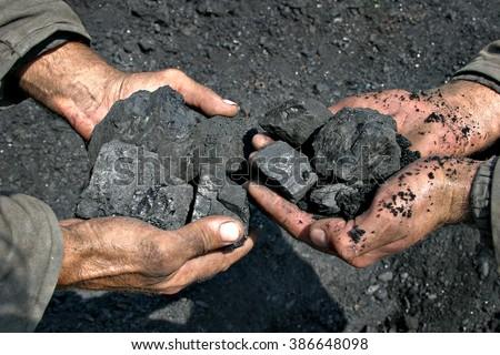 coal miner in the hands of coal background