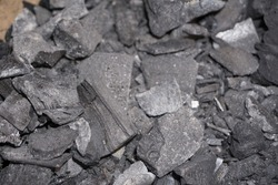 Coal mineral black cube stone background