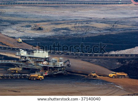 Coal mining in an open pit in Rhineland, Germany