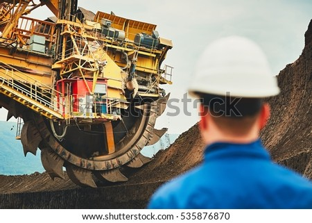 coal mining in an open pit....