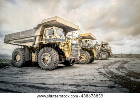 Coal mining. The truck transporting coal, Thailand.