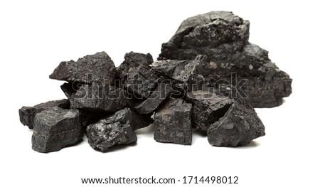 Coal pile photo on white background Imagine de stoc ©