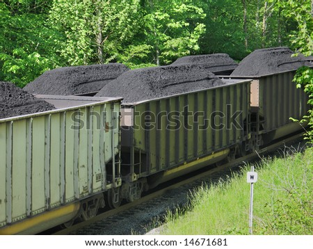 Coal piled in open railroad cars