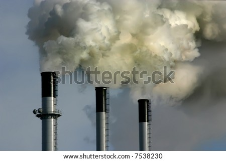 Coal plant emitting pollution. Burning coal is a leading cause of smog, acid rain, global warming, and air toxics.