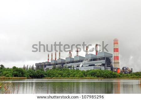 Coal power plant in the rain