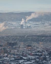 Coal power plant near the city in Kosovo