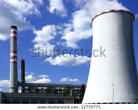 coal power-plant with cooling-tower in bohemia