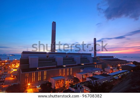 coal power station and night blue sky - stock photo